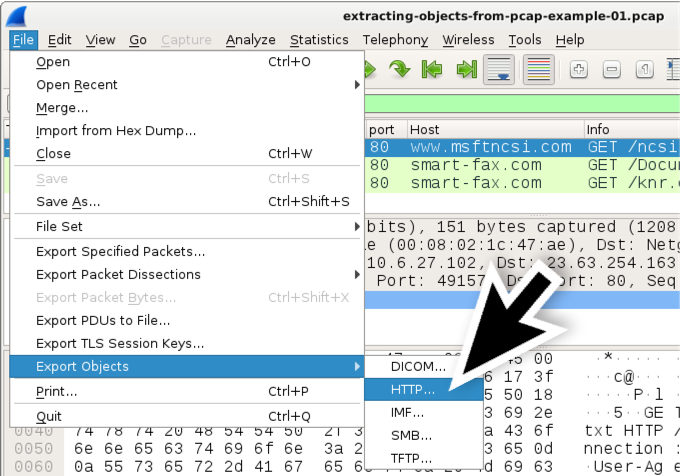Using Wireshark: Exporting Objects from a Pcap
