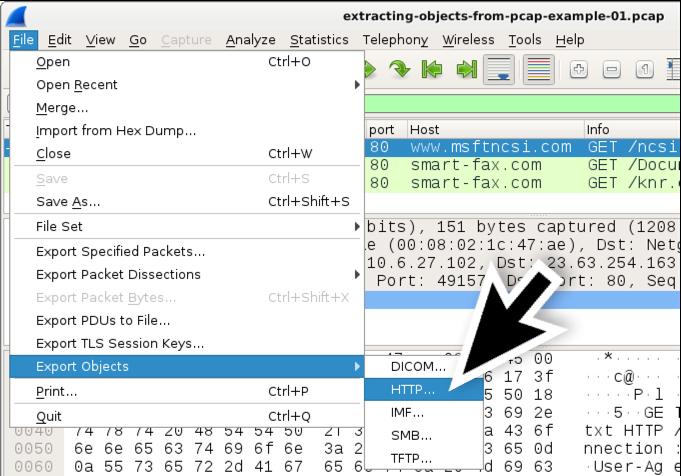 図2: WiresharkでHTTPオブジェクトをエクスポート