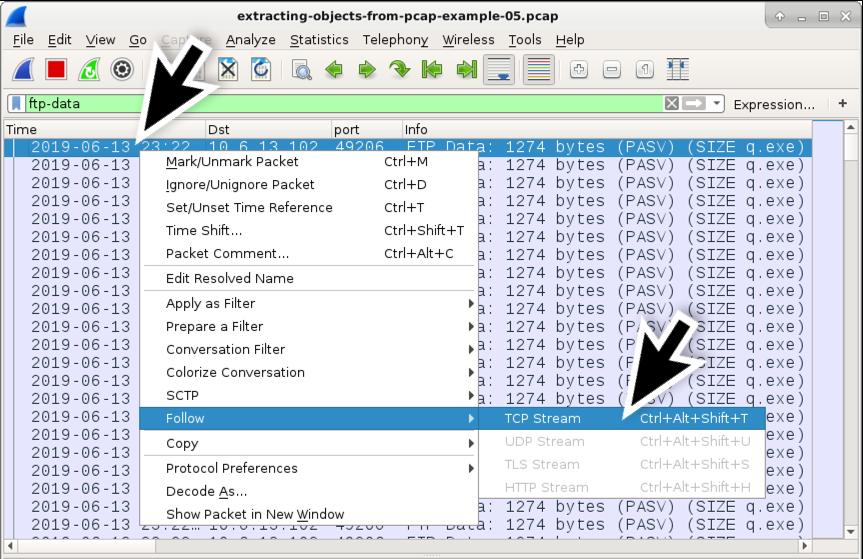 図16.q.exeのFTPデータ チャネルのTCPストリームをフォロー