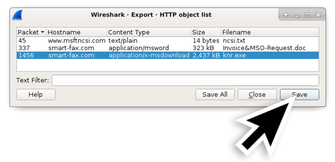 図4: HTTPオブジェクト リストから不審なWindows実行ファイルを保存