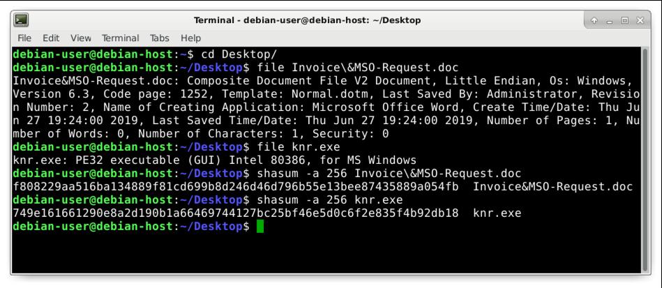 図5: pcapからエクスポートされた2つのオブジェクトのファイル タイプとハッシュを特定