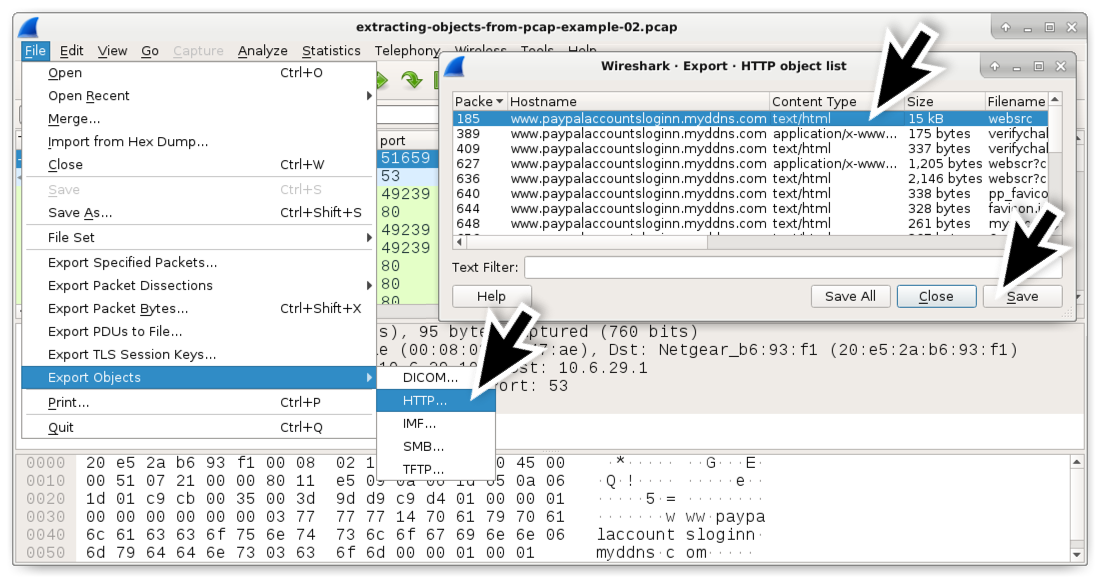 Using Wireshark: Exporting Objects from a PCAP – Data Core