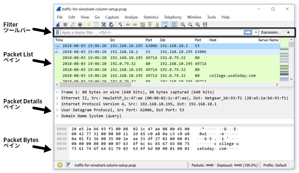 図1.Wiresharkの表示フィルタの場所([Filter]ツールバー)