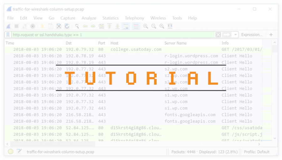 "The word ""Tutorial,"" superimposed over an image used in the Wireshark Tutorial series."