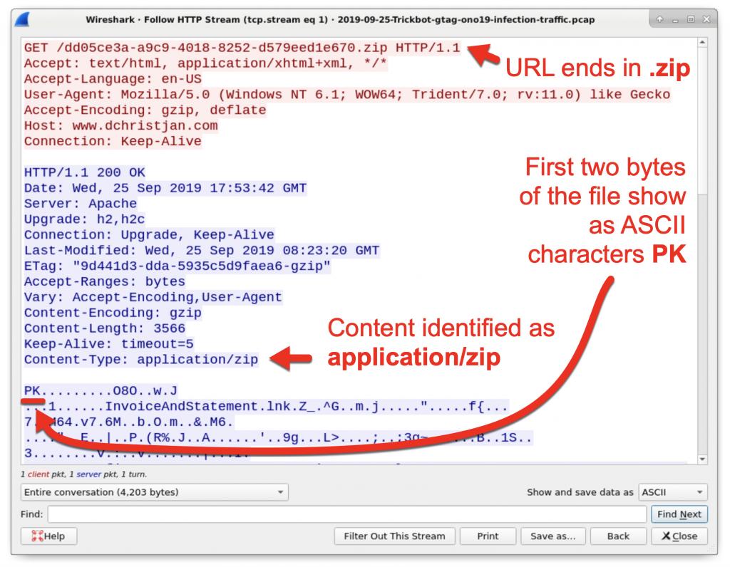 図4: HTTPリクエストがzipアーカイブを返した痕跡が確認できる