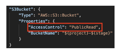 Figure 1. Insecure CloudFormation template with S3 bucket exposed to the entire internet