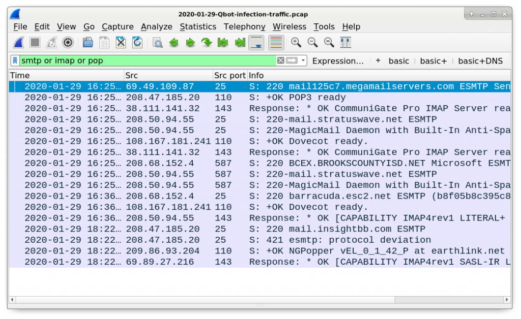 Figure 26. Finding email-related traffic caused by Qakbot in this pcap.