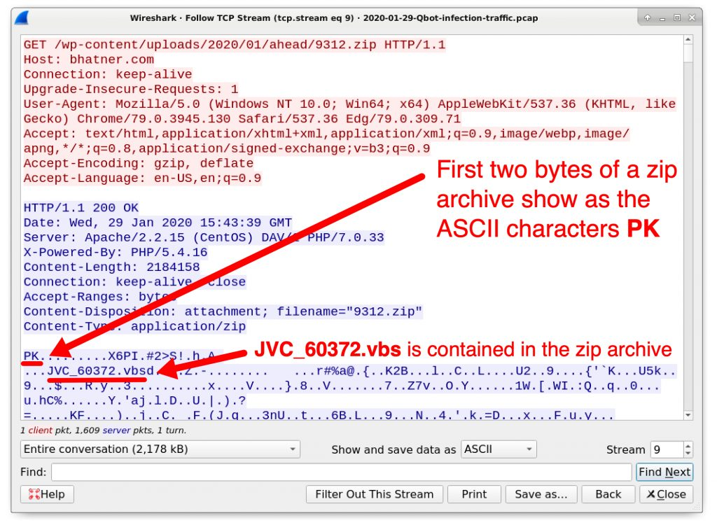 Figure 6. Indicators this URL returned a zip archive.