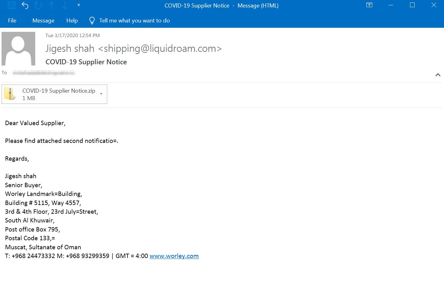 図8: AgentTeslaを配信するCOVID-19のルアーを使用したマルスパムの電子メール(「COVID-19 Supplier Notice(COVID-19:仕入業者へのお知らせ)」という題名がついている)