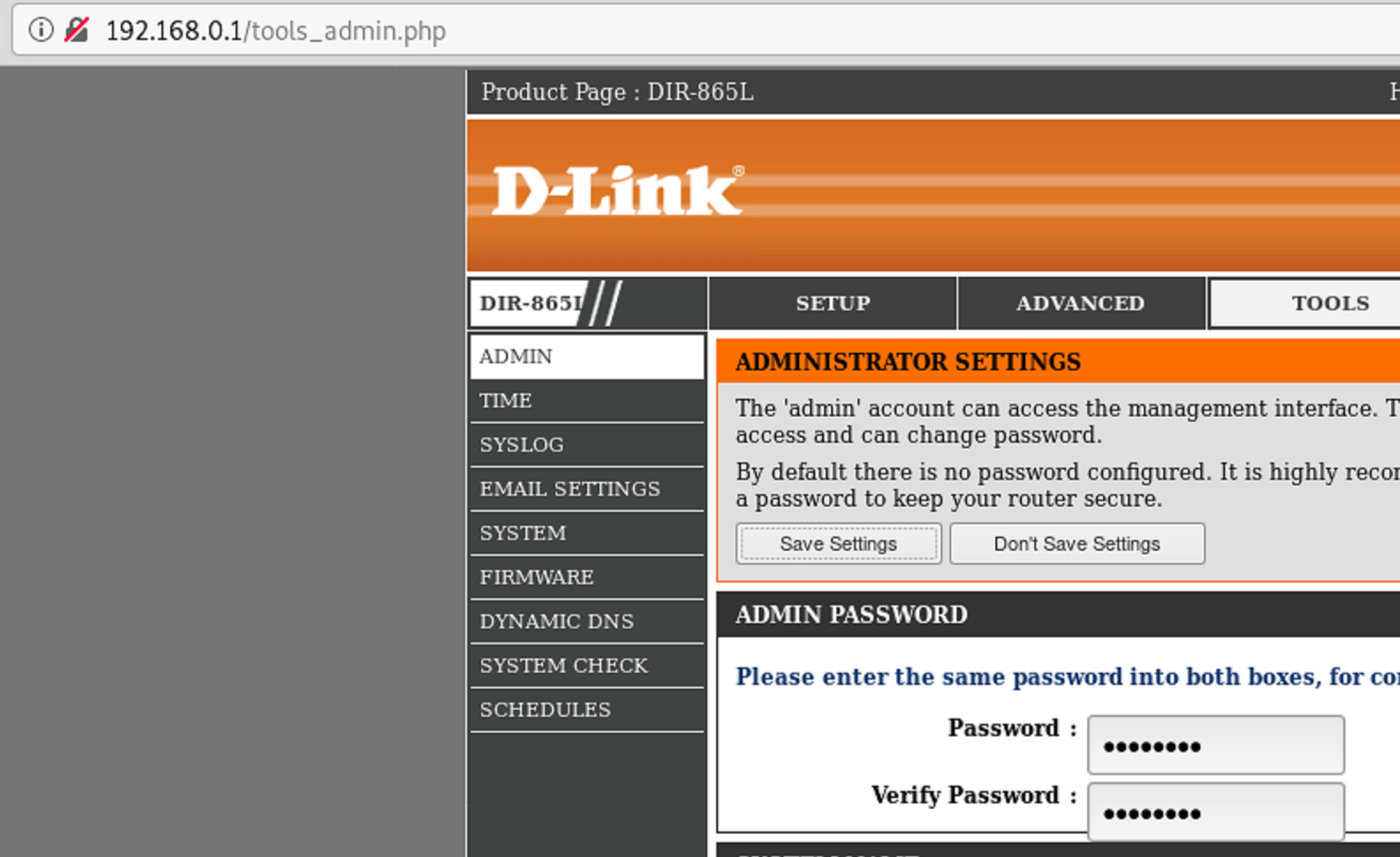 Tools_admin.php web page in D-Link Vulnerability