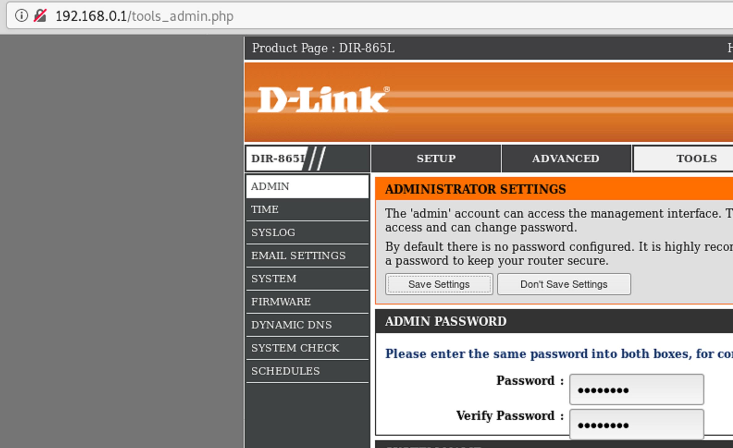 図9: tools_admin.php Webページ