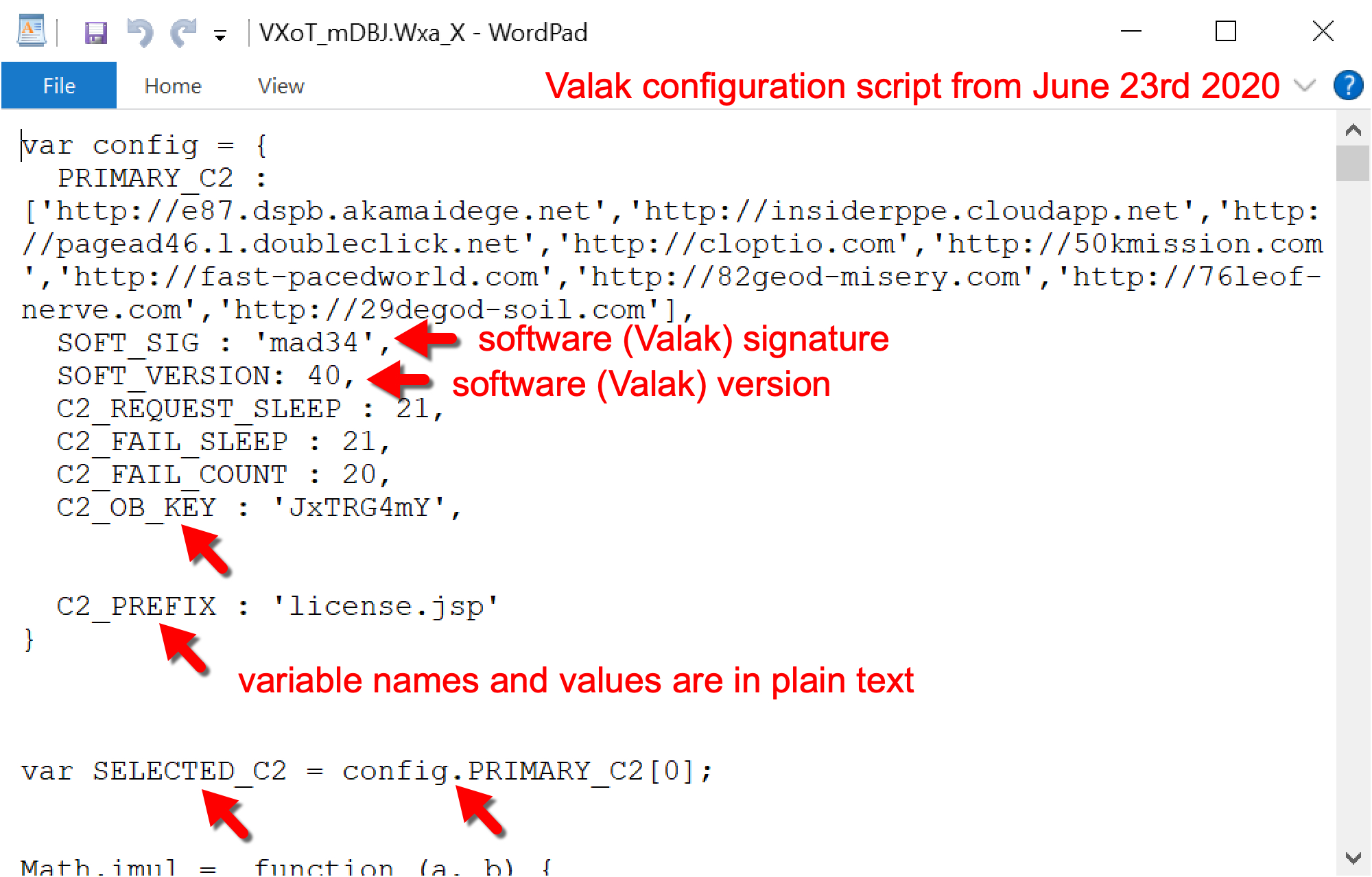 Valak configuration script from June 23, 2020, shows software (Valak) signature, software (Valak) version, and variable names and values in plain text.