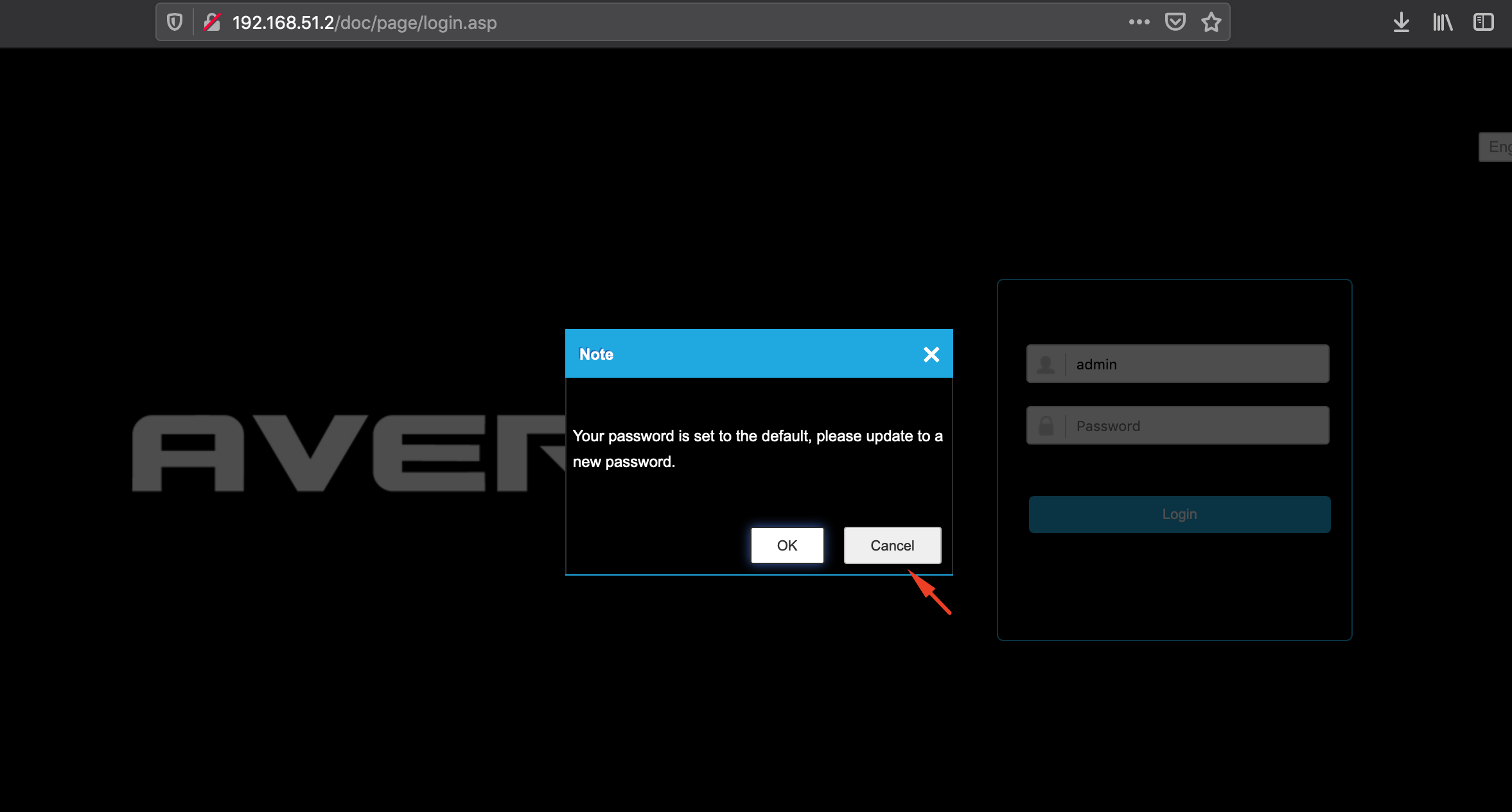 AvertX IP cameras show a pop-up window suggesting the user change the default password for the admin account, but the suggestion can be ignored.