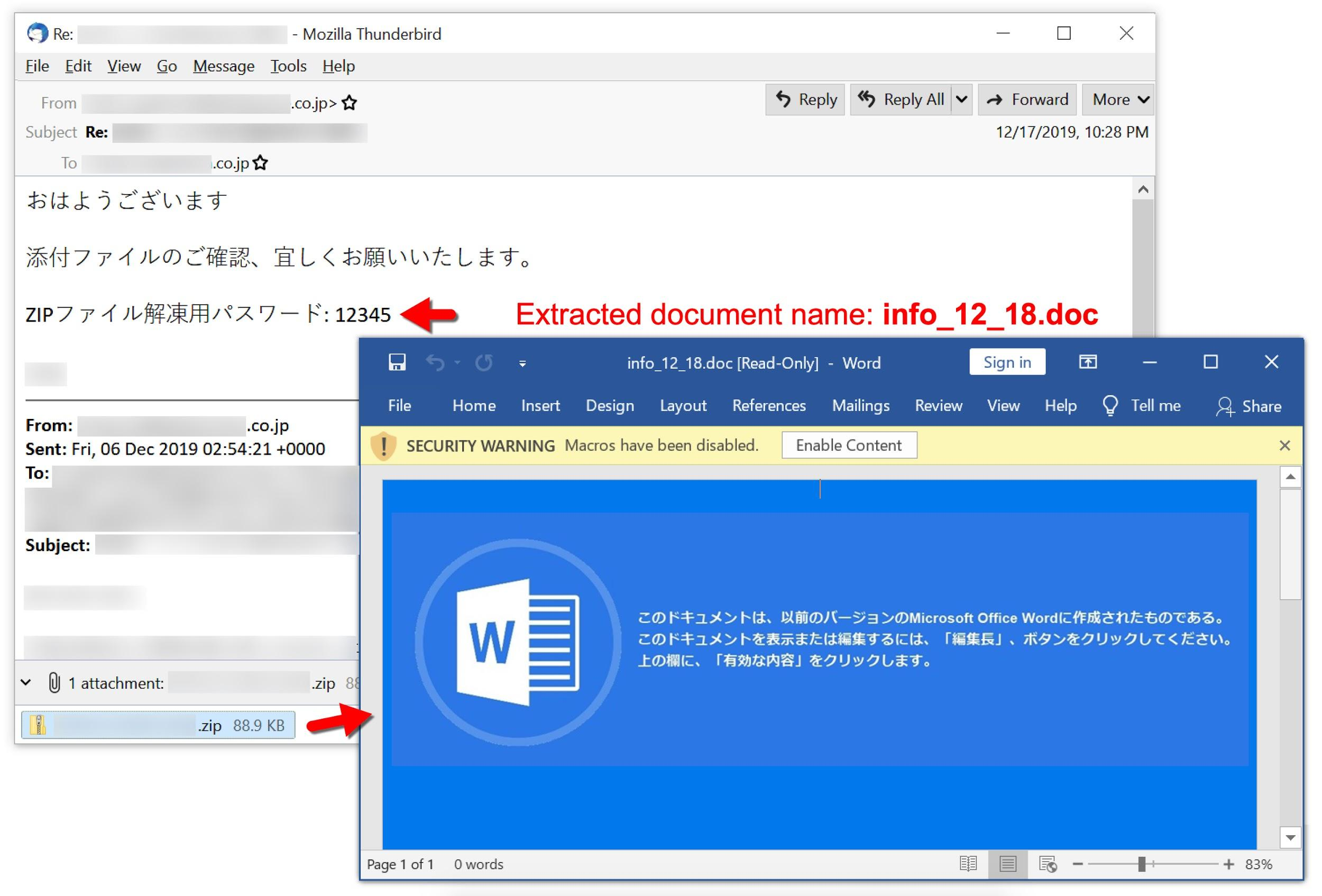 Screenshot includes a Japanese-language greeting. It continues by offering a zip password and closeout. The extracted document, info_12_18, opens with a message attempting to trick the user into enabling macros.