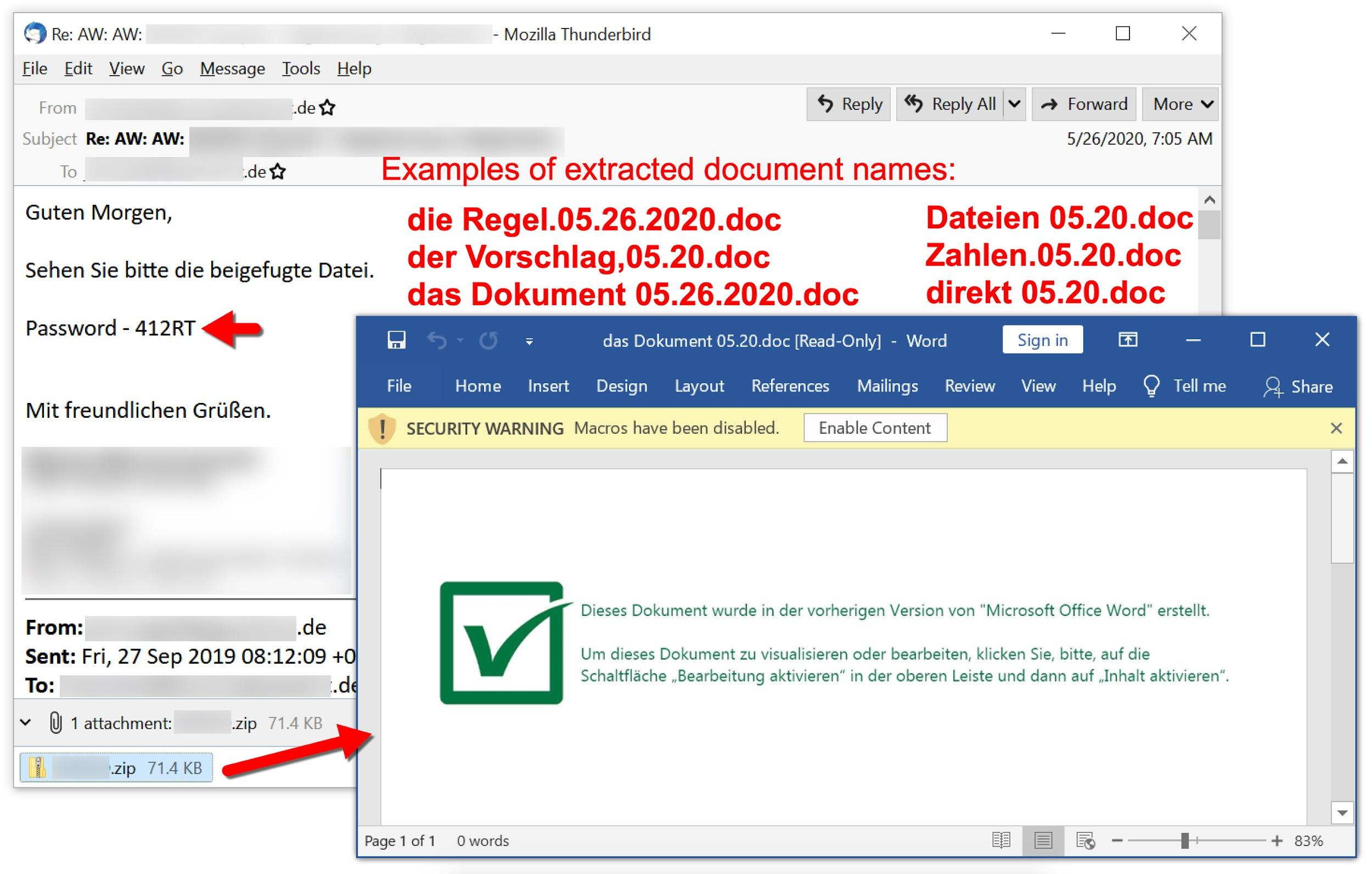 Figure 30. Shathak/TA551 malspam to a German-speaking recipient from May 26, 2020.
