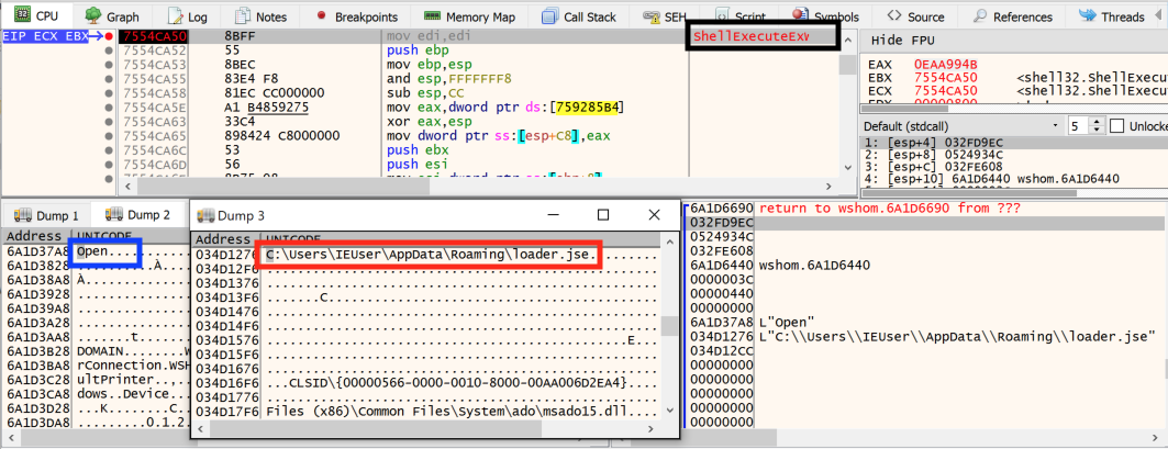 This shows how the encoded file is run via the ShellExecute function before the c.js file deletes itself.