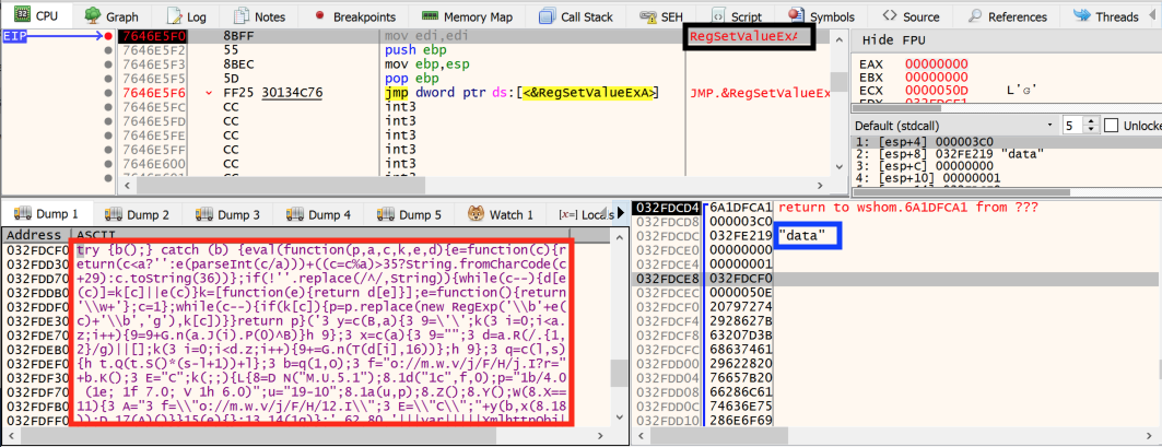 This shows how the c.js file creates a registry key and sets a value in this key with some packed JScript code.