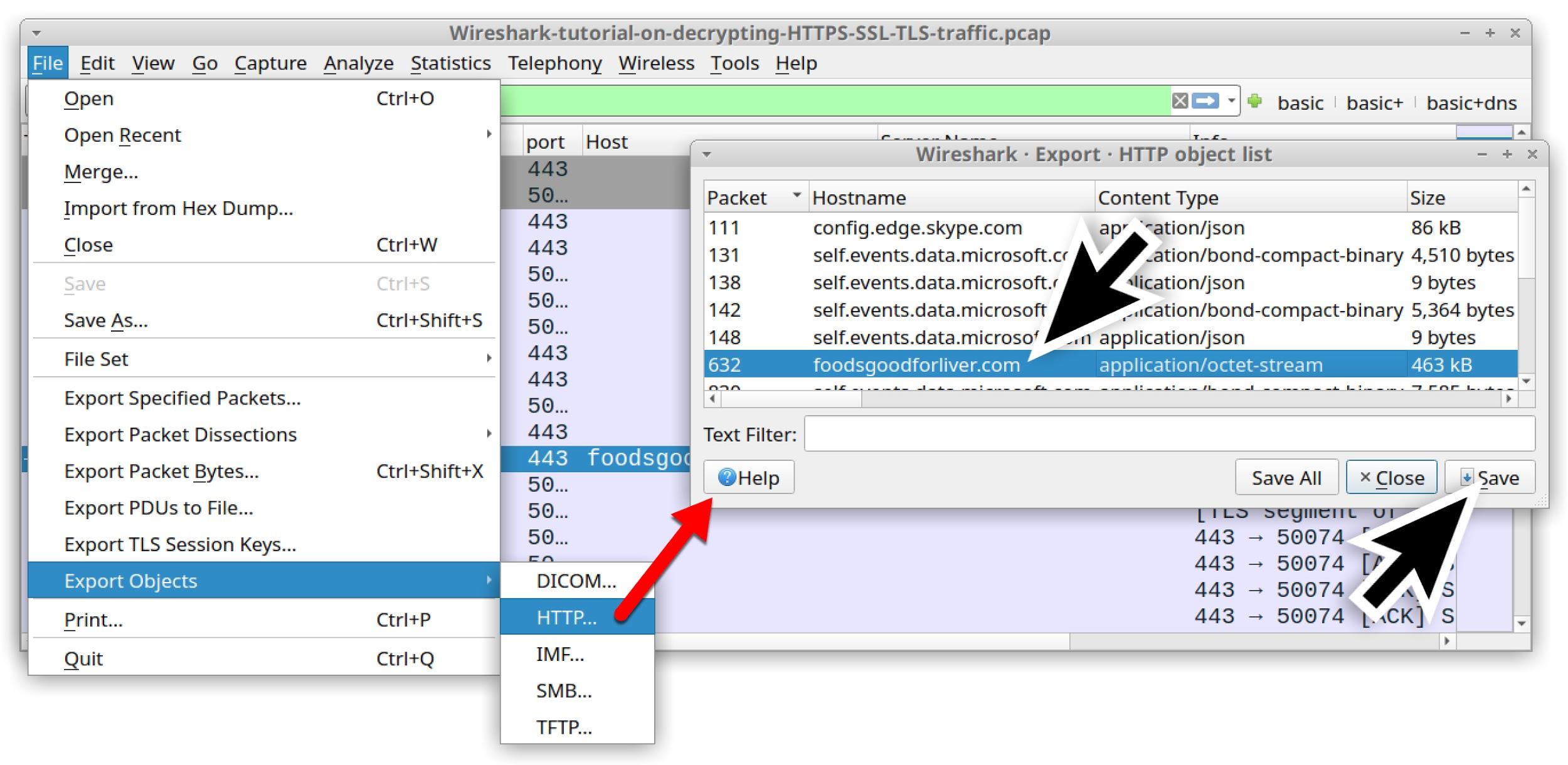 Wireshark-tutorial-on-decrypting-HTTPS-SSL-TLS-traffic.pcap - the screenshot shows the series of clicks required to export the malware binary used as an example in the decrypting HTTPS traffic tutorial.