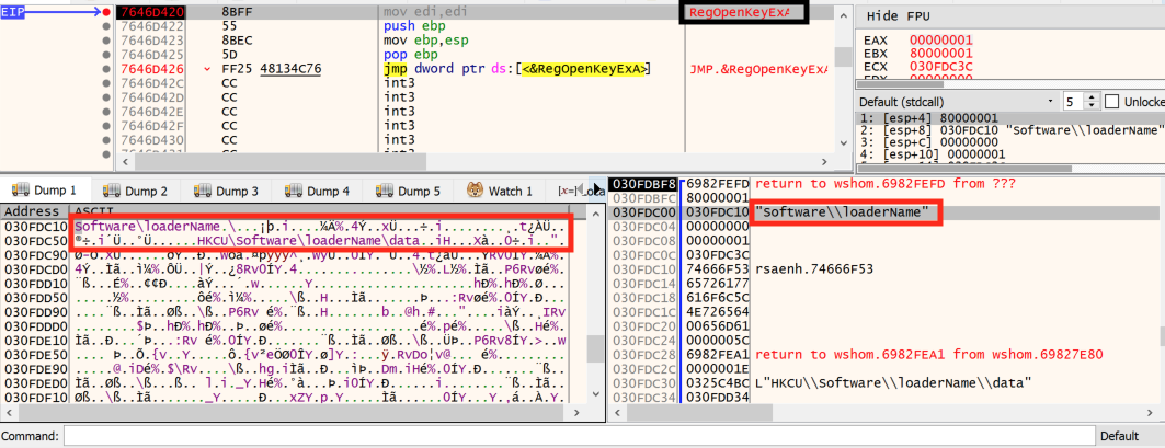 This step shows how the loader.jse file opens the registry key and runs the code contained in the data value.