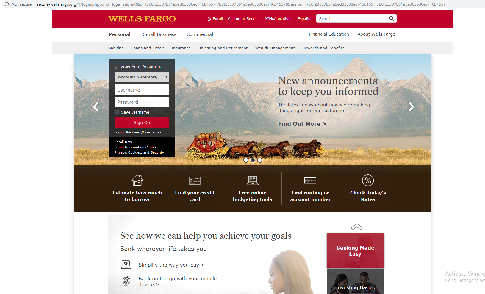 This screenshot shows a combosquatting domain's attempt to mimic Wells Fargo's official site. This illustrates one example of cybersquatting.