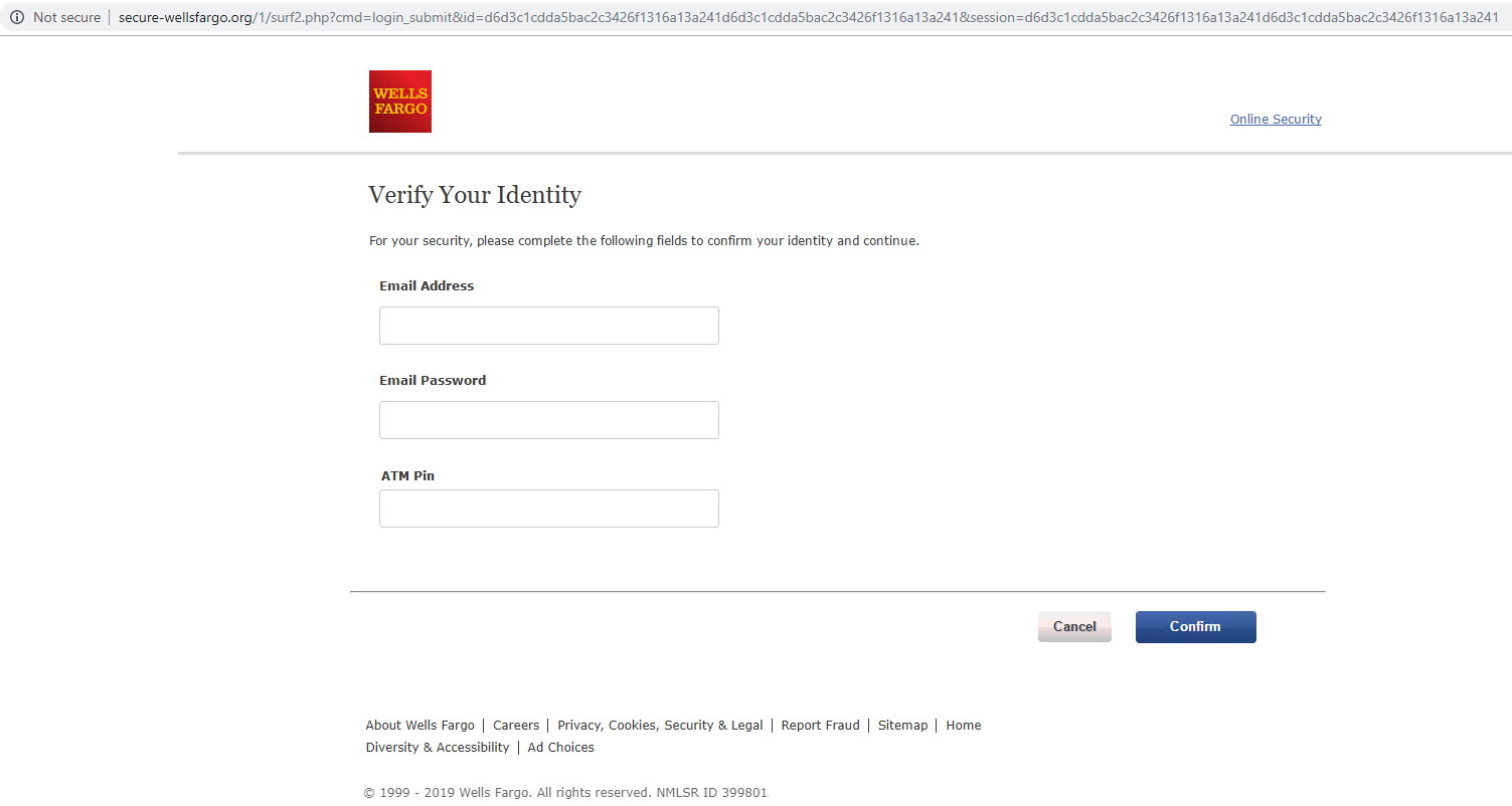 "This phishing login page mimicking the Wells Fargo website asks users to ""Verify Your Identity."" This is one example of how cybersquatting domains can be used for malicious purposes."
