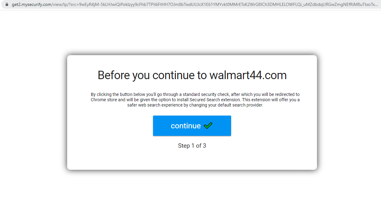 "The screenshot shows how a cybersquatting domain tries to trick users who visit it from a Chrome browser. The popup message reads ""Before you continue to walmart44[.]com,"" and a blue button labeled ""continue"" is displayed with a green check mark."