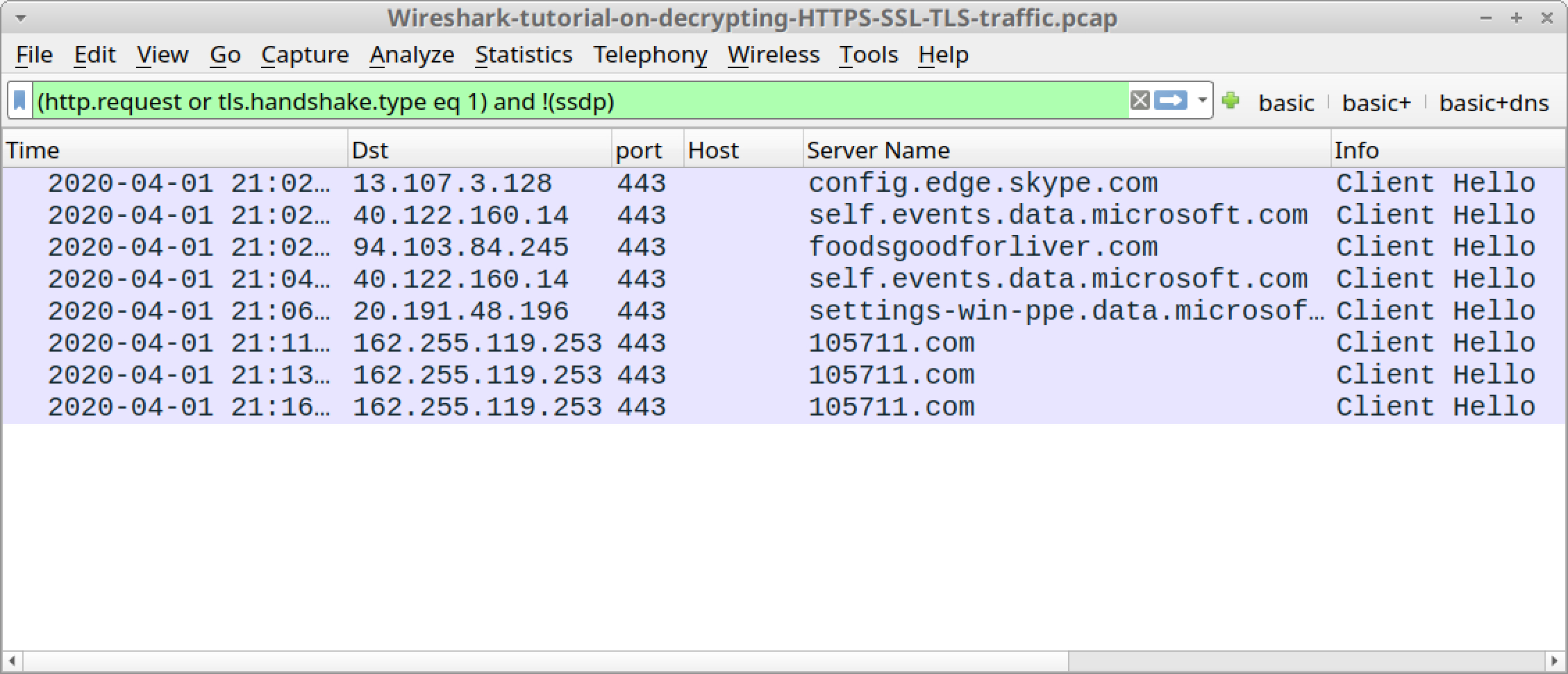 Wireshark-tutorial-on-decrypting-HTTPS-SSL-TLS-traffic.zip - This screenshot shows the pcap from the tutorial on decrypting HTTPS traffic when viewed in Wireshark using the basic web filter without any decryption.