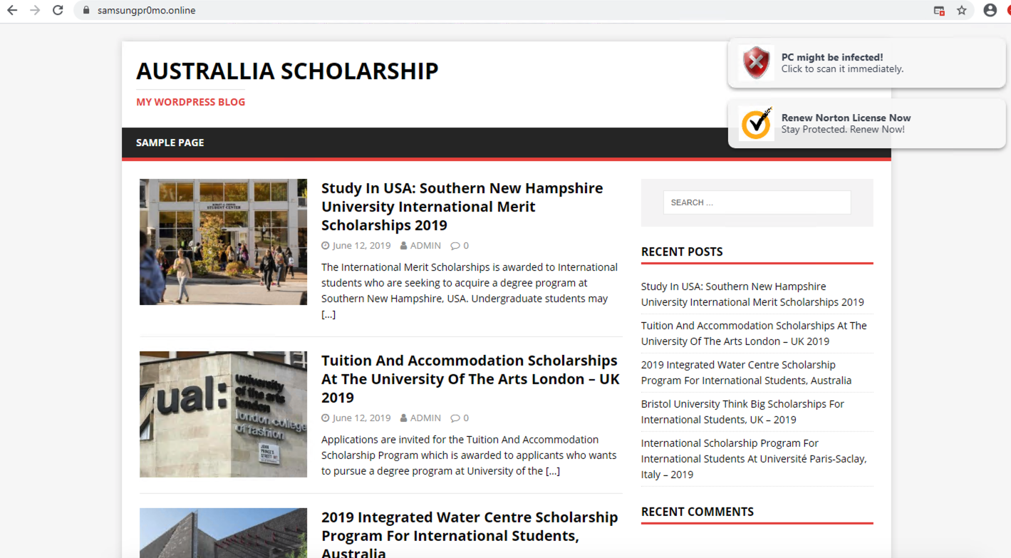 "This screenshot from a cybersquatting domain displays the title ""Australlia Scholarship"" [sic] and pops up security warnings in the top right corner, including, ""PC might be infected!"" and ""Renew Norton License now."""