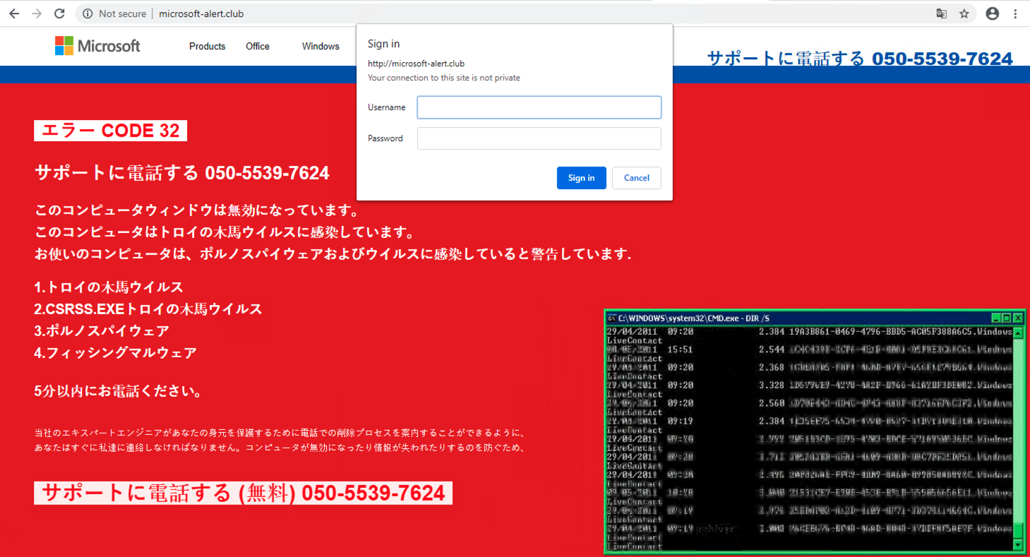 This page, in Japanese, is an example of a technical support scam page found during our research on cybersquatting domains.
