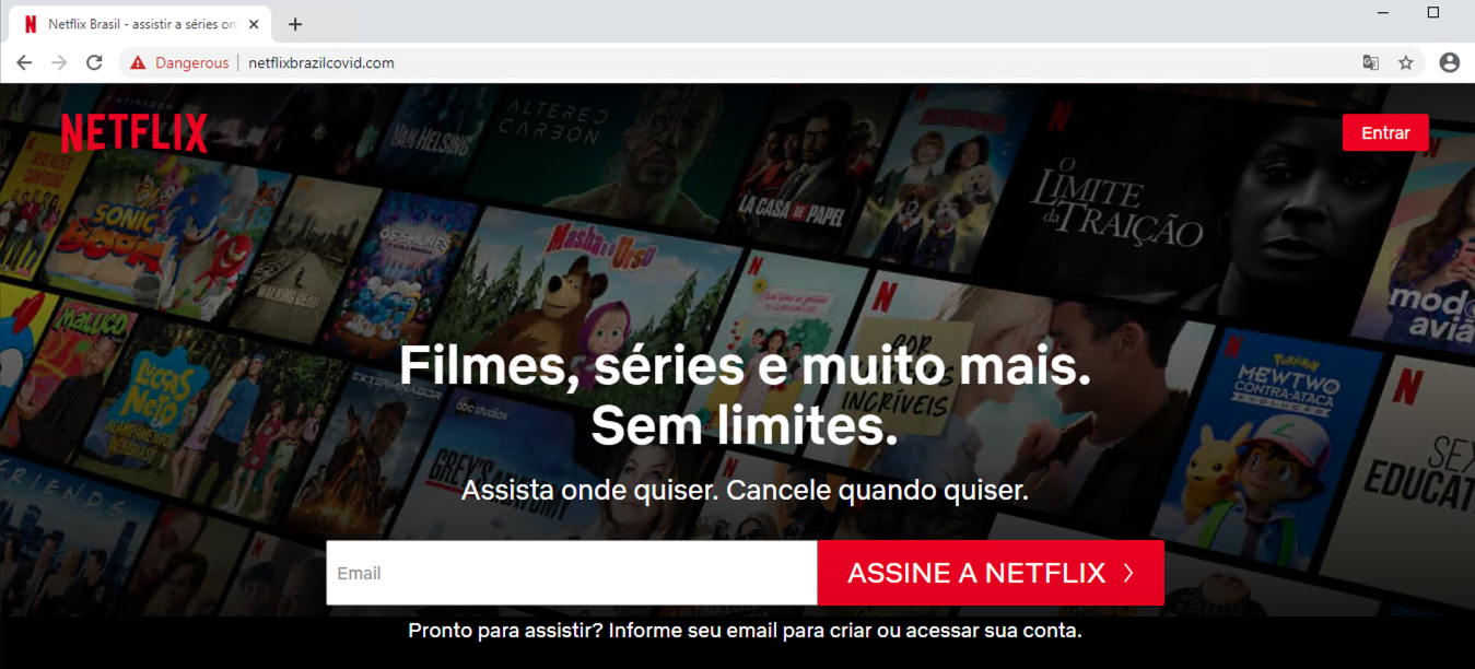 This screenshot of a cybersquatting domain shows that it is mimicking the Portuguese Netflix main page.