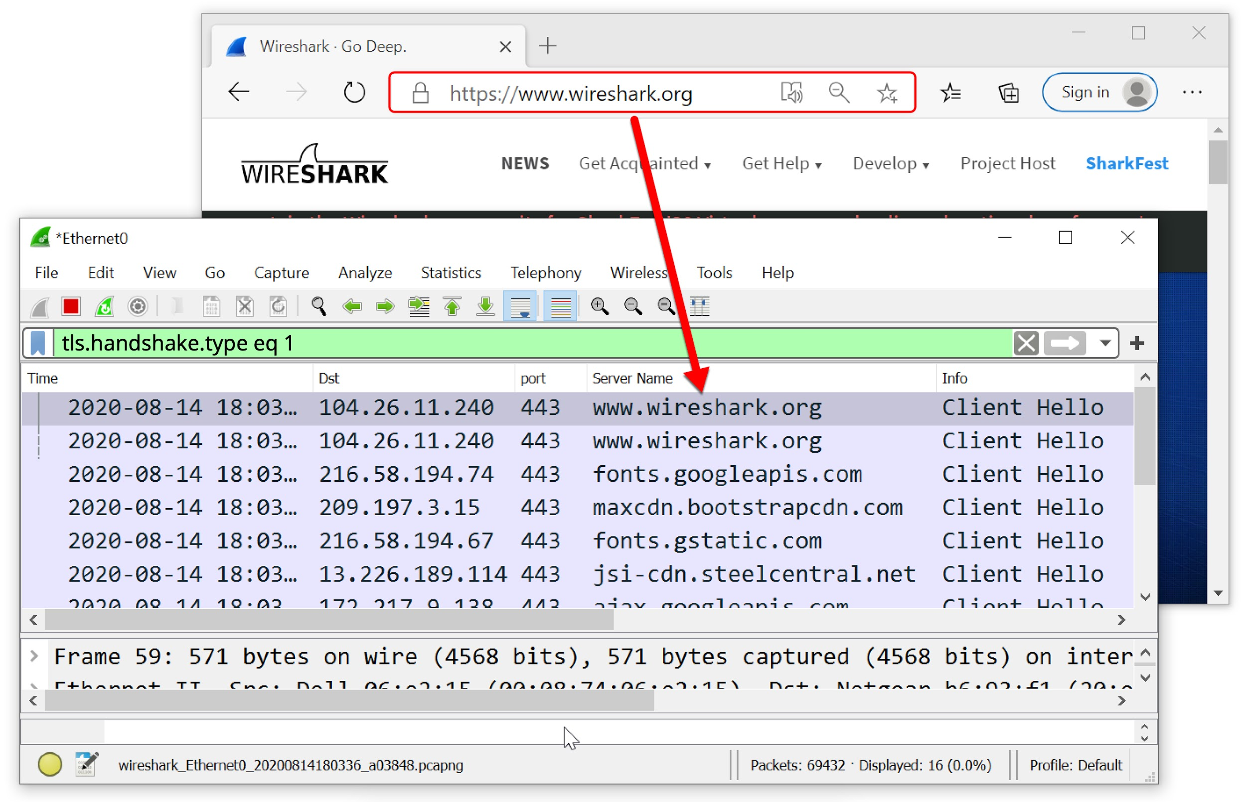 The screenshots show what is seen when viewing https://www.wireshark.org in a web browser, vs. what a pcap would show when viewed in a customized Wireshark column display.