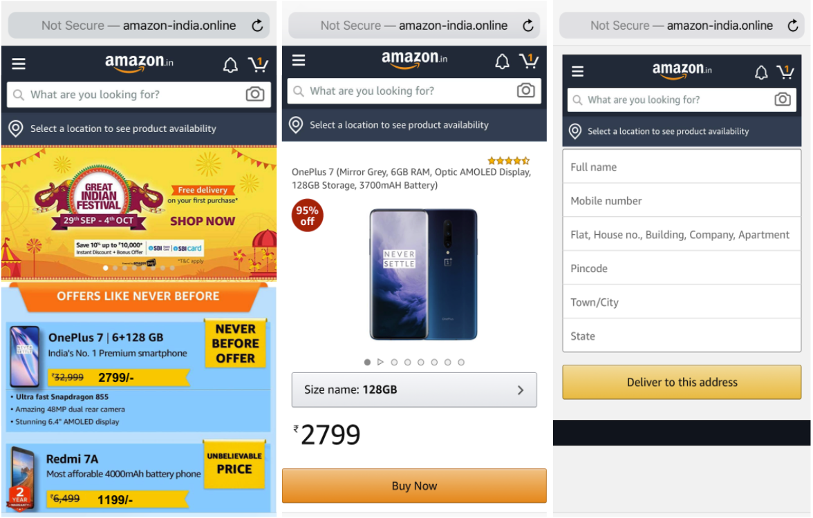 This example of cybersquatting shows how a fake Amazon website targeting people in India is designed to resemble the true Amazon website when viewed on a mobile phone.