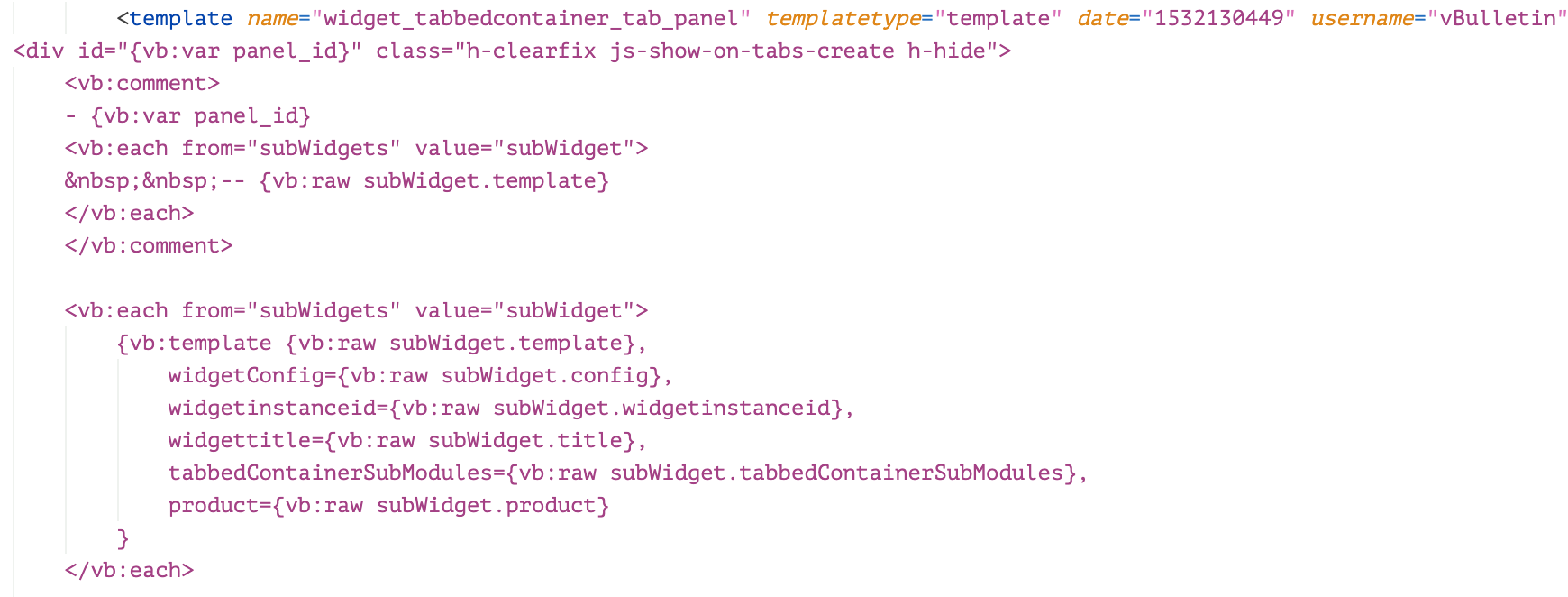 This shows code from the template widget_tabbedcontainer_tab_panel, which can be utilitzed to load widget_php