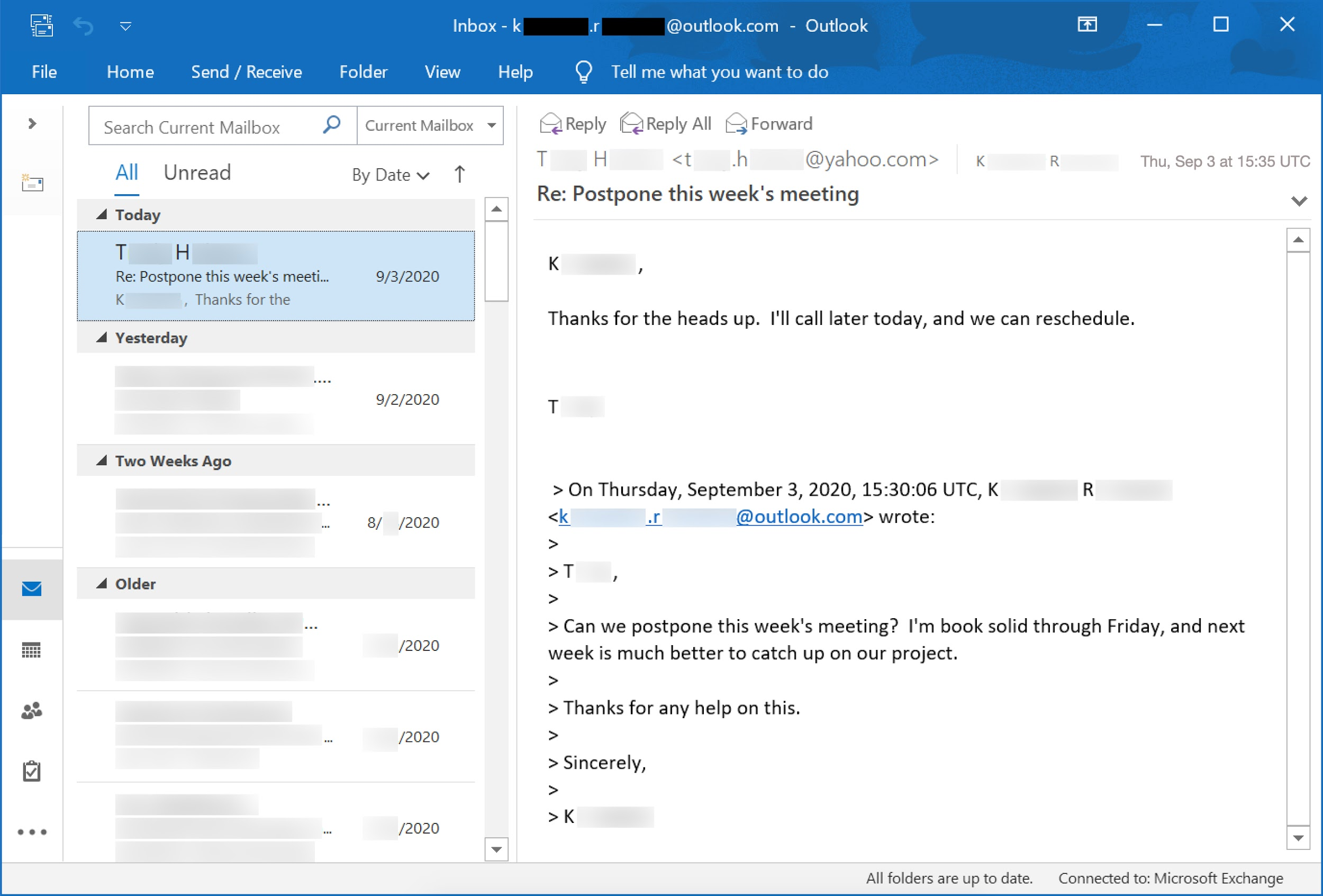 Thread hijacking begins with a legitimate email, as shown here.