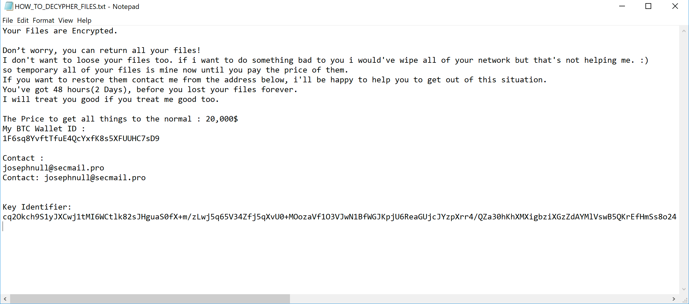 """HOW_TO_DECRYPT_YOUR_FILES.txt - Notepad - This shows a Thanos ransomware message displayed to victims, including the following text: """"Your files are Encrypted. Don't worry, you can return all your files! I don't want to loose your files too. If I want to do something bad to you I would've wipe all of your network but that's not helping me. :) so temporary all of your files is mine now until you pay the price of them. If you want to restore them contact me from the address below, I'll be happy to help you to get out of this situation. You've got 48 hours (2 Days), before you lost your files forever. I will treat you good if you treat me good too."""" The note closes with contact info, a Bitcoin wallet ID and a demand for """"20,000$."""""""