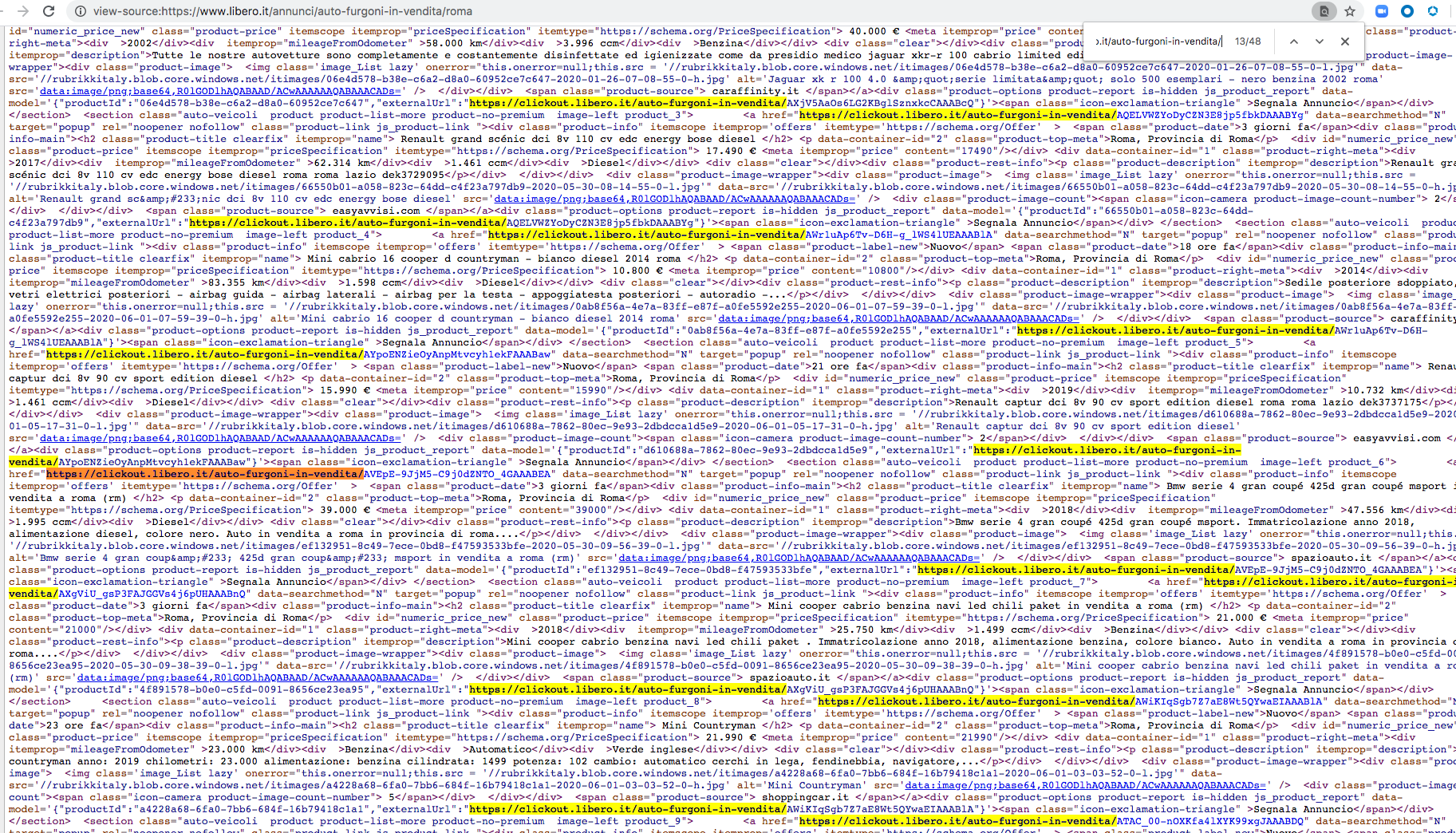This image shows all the external links, which are highlighted, pointing to libero[.]it. Though the link appears legitimate, clicking it redirects the user to a malicious site.