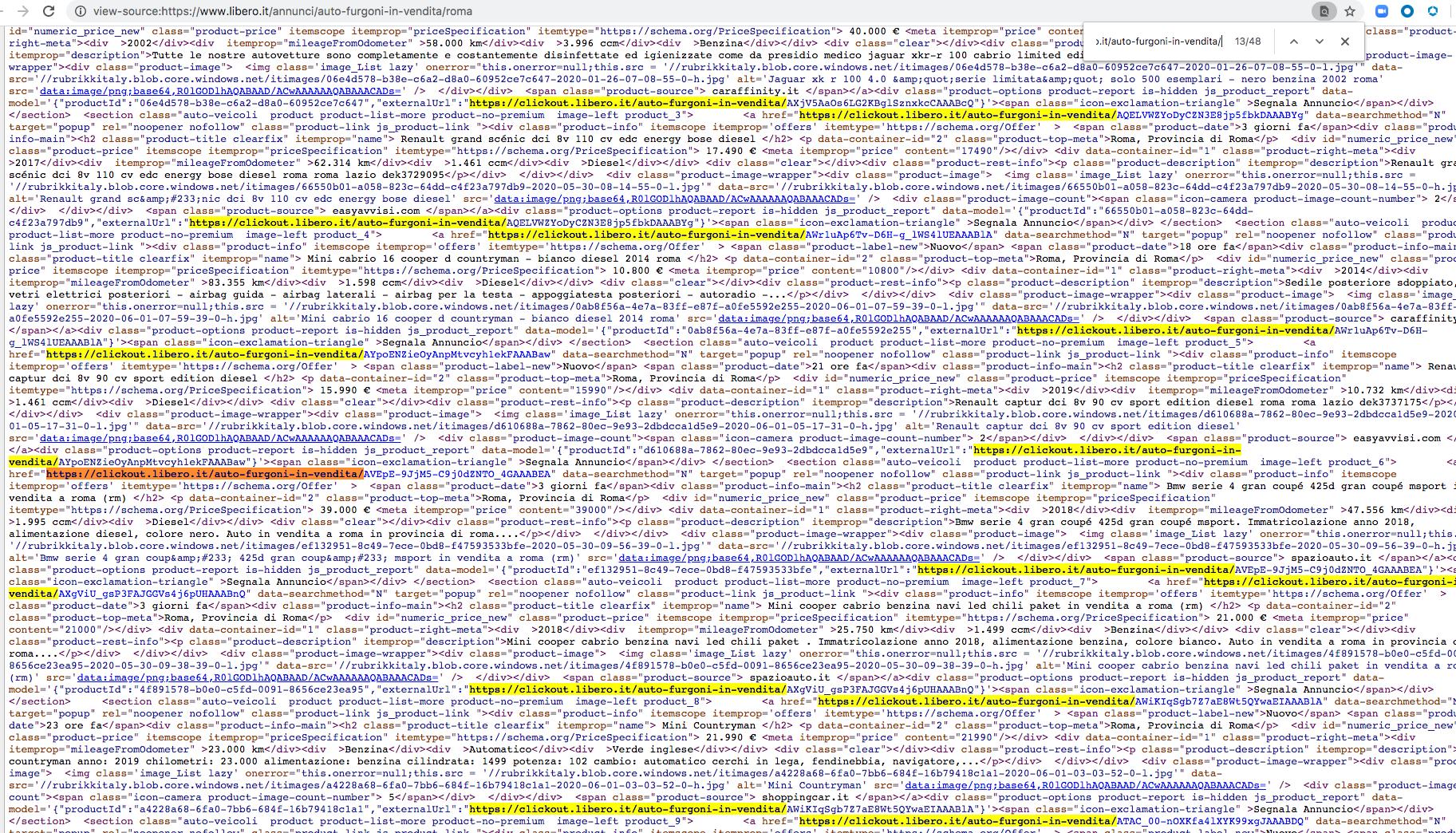 この画像は、libero[.]itを指すすべての外部リンクを強調表示しています。リンクは正当に見えますがリンクをクリックするとユーザーは悪意のあるサイトにリダイレクトされます。