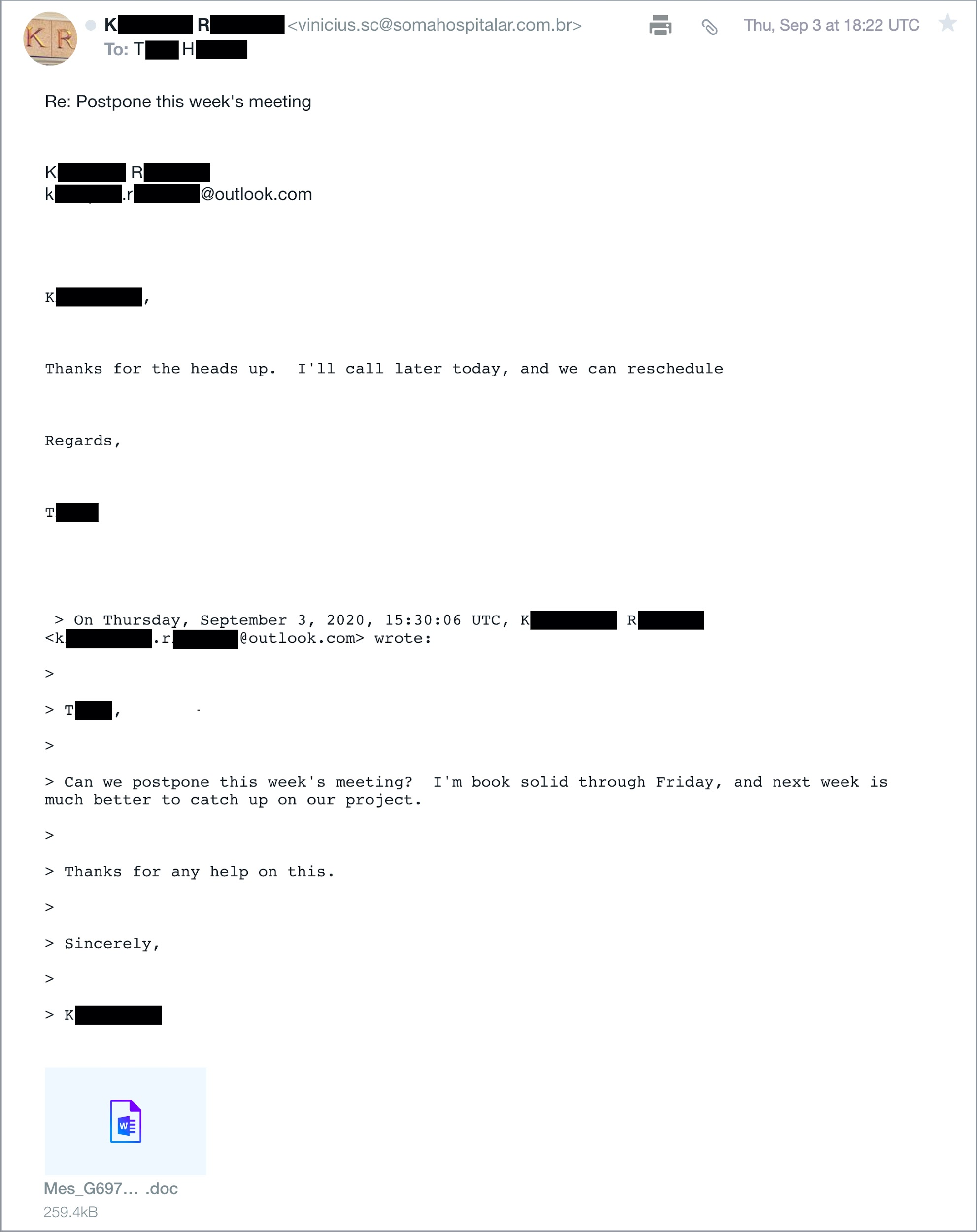 This image shows how the spoofed email appears after thread hijacking. Note the presence of a .doc attachment, which contains macros for Emotet.